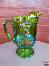 Indiana Glass Iridescent Green Carnival Harvest Grape Footed 64 ounce Pitcher