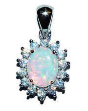 Stamped 925 Sterling Silver, Reconstituted Opal & Cubic Zirconia Cluster Pendant