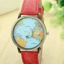 Hot Design Red Mini World Map Watch Men Women Gift Watch