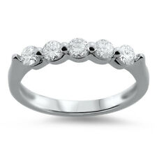 18K White Gold,0.45Carat Round Brilliant Cut Diamonds Half Eternity Wedding Ring