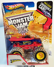 "Hot Wheels Monster Jam ""SUPERMAN"" 2013 MATTEL W/ Crushable Car Mud Trucks Tires"