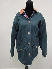 Talbots Jacket Coat Reversible Button Front Green/Plaid  Women's Size XS