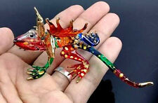 Chameleon Tiny Art Hand Blown Clear Glass Figurine Animal Miniature Collectible