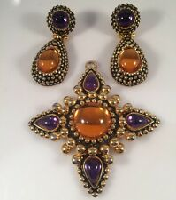 Craft Chunky Purple & Amber Gold Tone Statement Pendant and Clip Earrings Set