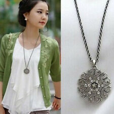 Lovely Black Color Long Sweater Chain Hollow Flower Crystal Necklace Jewelry
