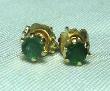 14K Yellow Gold and Emerald Pierced Earrings 0.4 grams total