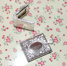 3x cute silver plated book locket charms/pendants for jewellery/keyrings etc