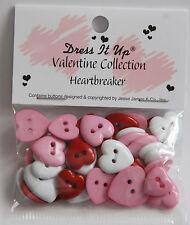 Heartbreaker Valentine Buttons / Jesse James Dress It Up / Heart Shape Sew Thru