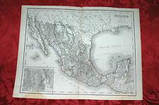 Antica Mappa Carta Geografica Acquerellata Messico 1860 Stabilimento Civelli
