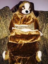 ADORABLE 2 pc ZIPPER SOFT BROWN COSTUME PUPPY DOG SLEEPING BAG W/ PILLOW PLUSH