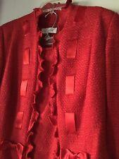 ESCADA DESIGNER COUTURE RED SUIT RUFFLED BOLERO JACKET FLARE SKIRT Size 36 US 6