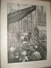 King Edward VII lays Foundation stone New Technical College Glasgow 1903 print