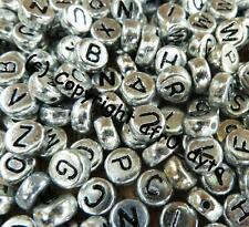 100 Silver Alphabet Mixed Letters Flat Round Disc Beads 7x4mm - BUY 3 FOR 2