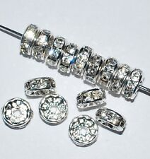 100 Swarovski Rondelles Spacer Beads 4mm Rhodium / Crystal - SR400