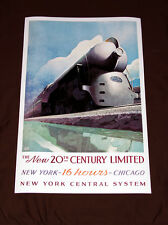 "New York Central 20th Century Limited Railroad Art print 24"" Poster 1938 train"