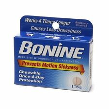 4 Pack - Bonine Motion Sickness Prevention Raspberry Chewable Tablets 8 Each