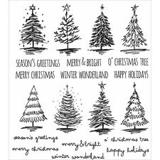 "NEW Tim Holtz Stampers Anonymous ""SCRIBBLY CHRISTMAS"" Rubber Cling Stamp Set"