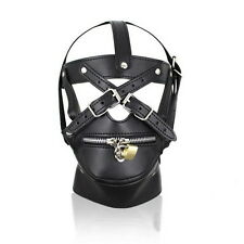 Costume SEX Party Leather Lock Gimp Toy Head Harness Hood Mask Bondage Fetish I