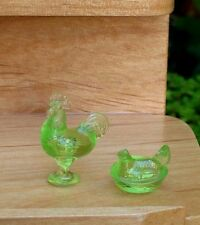 "Miniature Dollhouse Kitchen Accessories 1:24 ½"" Scale Green Nesting Hen Rooster"