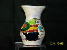 French Picasso Era High Gloss Glaze Hand Painted Art Pottery Flared Rim Vase