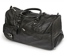 Smart Men Genuine Leather Duffle Bag With Trolley