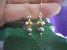 OLD VTG MEXICO SAUCER FLUTED BEAD GOLD DANGLE DROP 925 STERLING SILVER EARRINGS