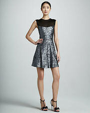 NWT Nicole Miller Silver Sequined Illusion Mesh Neck & Back Pleated Dress 6 $365