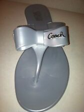 COACH Silver PATENT BOW FLIP FLOP JELLY SANDALS SHOES SIZE 6