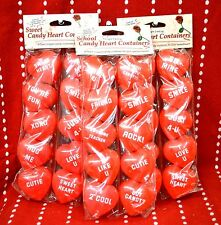 """30 PC Valentine Love Plastic Candy HEART Containers RED 2"""" Mine HUG Cutie XOXO"""