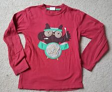 *** MINI BODEN Red Long Sleeve Tee Shirt Brown Owl Drums Rock'n'Roll 7-8 Y