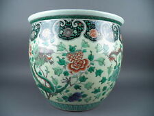 Fine Old Chinese 19th/20th Republic Porcelain Famille Rose Verte Planter Dragons