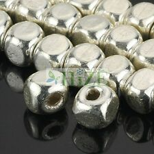 HIZE SB554 Thai Karen Hill Tribe Silver Plain Square Cube Nugget Beads 6mm (14)