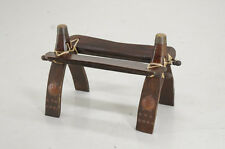 Asian Ethnic Camel Chair Natural Wood Leather Cord Free Ship 551y22