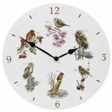 Birds Clock Wall Time Piece Home Owl Robin Chaffinch Furniture Gift Present NEW