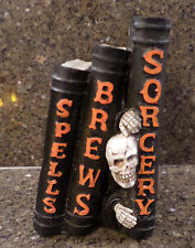 3 RESIN SPELL BOOKS BLACK - SPELLS BREWS SORCERY w/ SKULL GUY HALLOWEEN DECOR
