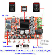 TDA7492 50W*2 AUX Switch Wireless Bluetooth 4.0 Audio Digital Amplifie Board US