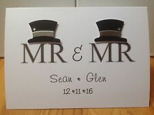 Handmade Mr & Mr personalised wedding card- civil partnership -names and date