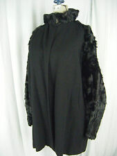 DESMOND'S Vtg 30-40s Black Curly Lamb Fur/Wool Swing Jacket-Bust 40/M