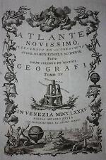 ORIGINALE di Antonio Zatta ATLAS pagina del titolo, Atlante novissimo, 1785