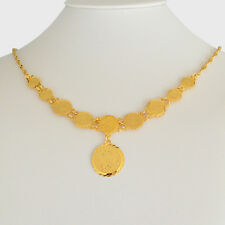 Middle East Coin Jewelry Arabic Coin Pendant Necklace 24k Gold Plated 20 inches