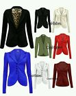 WOMENS LADIES 5 BUTTON UP FRONT SMART BLAZER PONTE OFFICE BLAZER JACKET COAT