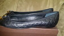 New Louis Vuitton LV Embossed Monogram Black Leather Debbie Flats Ballerina 39