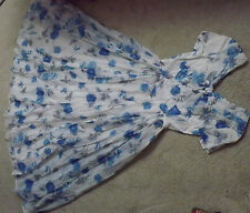 True Vintage 1950's / 60's blue floral evening gown with bow detail