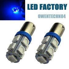2X Blue BA9S 257 H6W 9SMD LED W5W Car Indicator DOME Light Bulbs Lamps #NA1