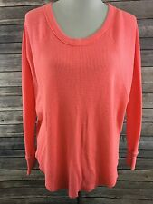 We The Free Free People Women's Pink Raglan Thermal LS Oversized Top Size Small