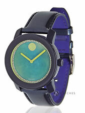 BRAND NEW WOMENS MOVADO (3600267) BOLD DARK BLUE LEATHER STRAP WATCH
