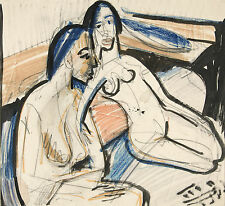 Ernst Kirchner Reproduction: Two Seated Women in the Studio - Fine Art Print