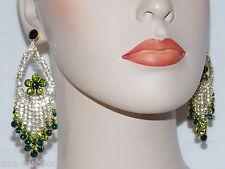 Emerald Green Royalty W.Clear Rhinestone Chandelier Gold Earrings