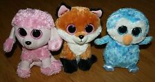 "Ty 6"" Beanie Boos Lot 3 Fox Slick, Blue Owl Ice Cube & Pnk Poodle Dog Princess"