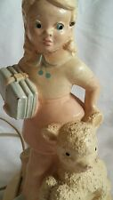 Vintage Chalkware Lamp Mary Had a Little Lamb Works 13 Inches